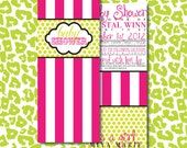 DIY Pink and Green stripes with polka dots baby shower invitation