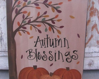 Primitive Autumn Blessings Fall Pumpkins with Falling Leaves Hand Painted Wooden Sign GCC5316