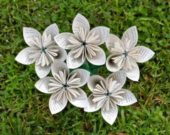 To Kill a Mockingbird Recycled Book Paper Flowers {5 Medium Size}
