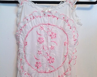 Handmade girls pink doily dress