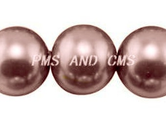 8mm Deep Champagne Glass Pearl Beads - 8 inch