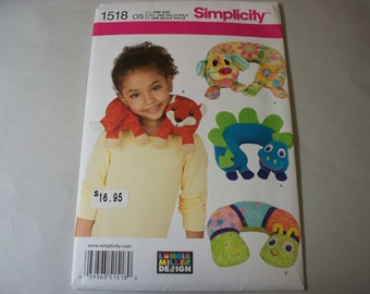New Simplicity Childs' Animal Neck Pillow Pattern, 1518  (Free US Shipping)