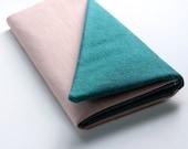 Pink Clutch Wallet - Smartphone Wallet, Ladies Wallet, Color Block Clutch, Vegan Wallet, Pink and Green Clutch, Custom Wallet