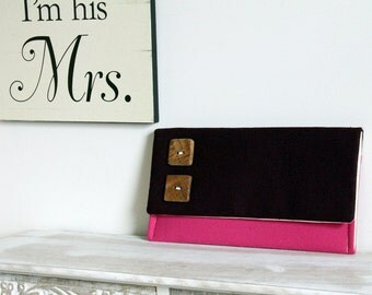 The Katie Clutch - Color Block Clutch, Pink and Purple Clutch, Pink Bridesmaid Clutch, Rustic Wedding Clutch, Clutch with Buttons