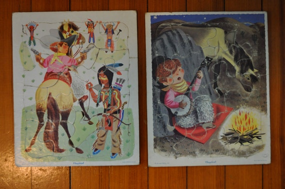 Cowboy Campfire and Indians Puzzles/Vintage 1960s/Two