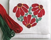 DIY pdf Crewel Embroidery Pattern Zinnia Heart in Red and Green digital download tutorial