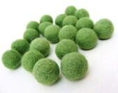 Felt Balls Green - 20 Pure Wool Beads 20mm - Moss Green Shade -   (W203)