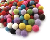 Felt Balls Color Mix - 50 Pure Wool Beads 15mm - Multicolor Shades -   (W250A)