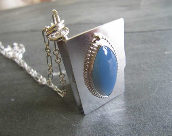 Handmade Locket with Rare Oregon Blue Opal and Sterling Silver