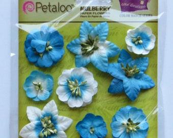 mulberry flowers - paper flowers - marine blue flowers - Petaloo flowers - card embellishments - scrapbook flowers - flower embellishment