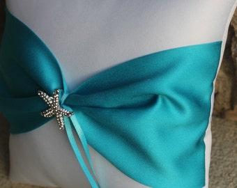 Shinning Starfish Destination Beach Themed Wedding Ring Bearer Pillow - White and Malibu Turquoise Shown Other Colors Available
