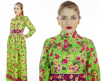 60s Psychedelic Maxi Dress Mod Vintage Satin Abstract 1960s Hostess Party 70s Bright Floral Event Formal Festival Medium M Small S