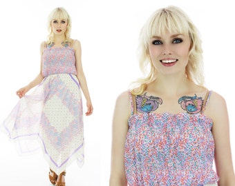 70s Handkerchief Dress Vintage Sundress Pink Lavender Floral Hippie Boho Bohemian 1970s Disco Festival Ruffle Full Skirt Small Medium S M