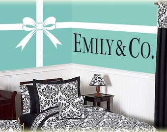 Personalized Name and Co. with Bow and Ribbon Lines vinyl decal-choose your Personalized Name for your custom made vinyl wall art decal