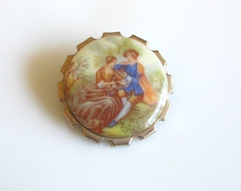 Vintage Courting Couple Lovers Pin Brooch