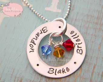 Personalized Hand Stamped Eternity Washer Necklace with Names and Swarovski Birthstones