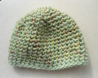 SYBIL green gold brown merino wool blend crochet beanie cap hat by irish granny
