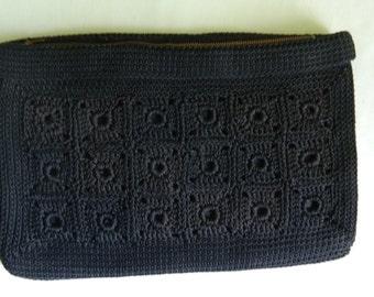 Black Corde Envelope Clutch Purse Styled by Seligman New York 12 x 8 Metal Zipper