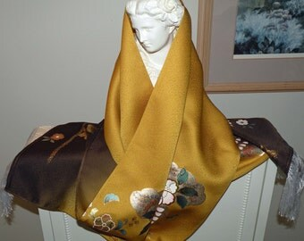 Silk Kimono Fabric Wrap Shawl Scarf..Painted Cherry Blossoms..Bridal/Long Island Wedding Gift..Gold Brown/Pastels..Clutch Purse