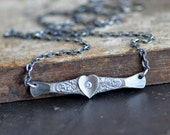 Antiqued Heart necklace, Silver bar necklace, forged sterling silver necklace with sapphire and diamond