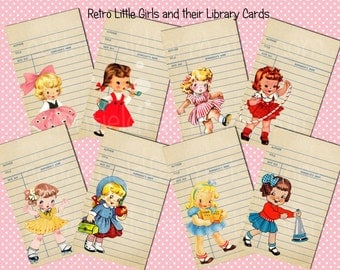 Retro Little Girls and Little Boys with their Library Cards  Digital Tags, Scrapbooking, Cards, Mini Albums, Journaling Notes 2 Sheets