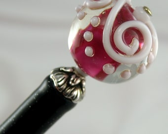 Hairstick Iced Berry In Artisan Glass On A Glitter Stick