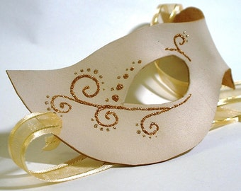 Ivory Leather mask with glitter accents