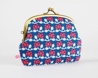Metal frame purse with two sections - Little summer flowers - pop up / Korean fabric / blue coral pink white / cherry flowers Modern floral