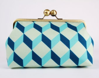 Metal frame clutch bag - Cubik in teal and turquoise - Home purse / Linna Morata / Geometric french fabric / blue metallic silver dots