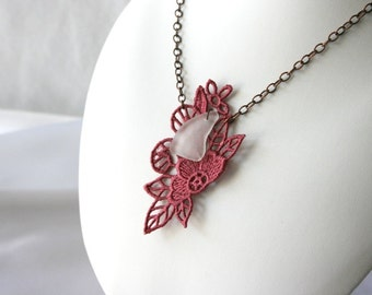 Amaryllis Small NECKLACE - Dusty Rose - Flower - Birthday - Sea Glass - Beach Glass - Free Standing Lace Embroidery