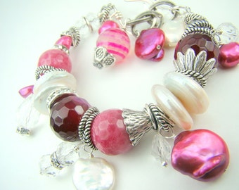 Chunky pink bracelet, pearl charm bracelet, fuschia pink pearls, pink gemstones... Candy Stripe