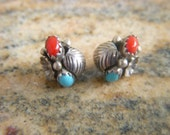 Dainty Squash Blossom Earrings Turquoise Coral Southwestern Silver Pierced