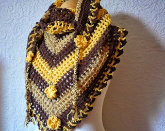 Scarf Shawl in colours Brown Fawn and Saffron Yellow Woman