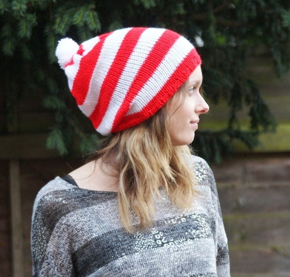 Slouchy Hat, Beanie, Slouch Hat, Mens Womens Hat, Knitted Oversized Hat, Pompom Hat, Tam Hat, Red White