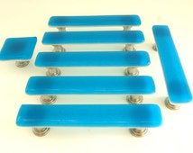 Deep Turquoise Glass Cabinet Hardware Drawer or Cabinet Pull