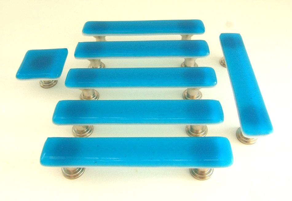 Deep turquoise glass cabinet hardware drawer by for Turquoise cabinet pulls