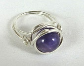 Sterling Silver Ring with Amethyst - actual photo