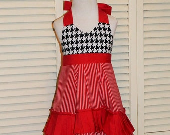 Handmade Ruffled Sundress with Halter Top in Black, Red, and White