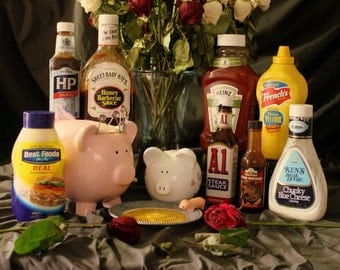 Still life with pigs eating condiments. Digital image