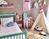 Teepee | children's play tipi handmade cotton tent with poles | MIDI