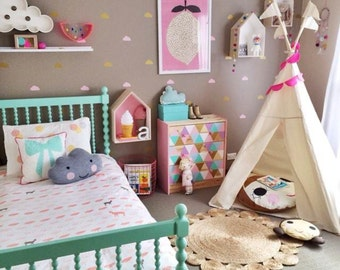 Teepee | children's play tipi handmade cotton tent with poles | MIDI
