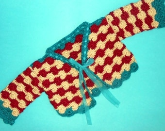 Christmas holiday (or anytime) cardigan sweater in bright colors for baby boy or girl 12 months