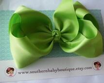 New---School Cheer Pony O Bow XX-Large 7 Inch Hair Bow---Apple Green---Ready to Ship