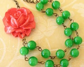 Statement Necklace Bridesmaid Jewelry Flower Necklace Green Necklace Coral Jewelry Beaded Necklace