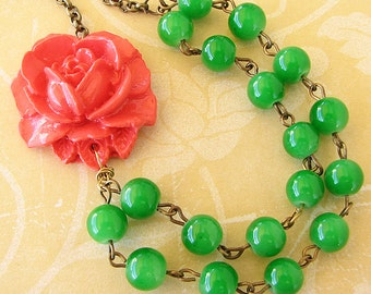 Statement Necklace Bridesmaid Jewelry Flower Necklace Green Necklace Coral Jewelry Beaded Necklace