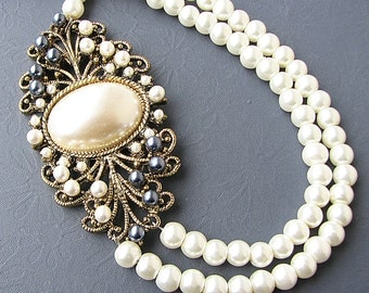 Bridal Jewelry Statement Necklace Wedding Jewelry Pearl Bridal Necklace Double Strand Bridesmaid Gift Vintage Style