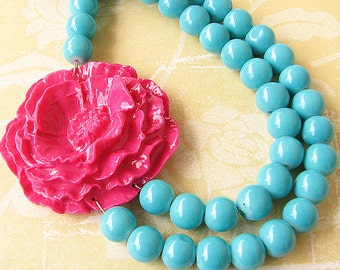 Flower Necklace Turquoise Jewelry Statement Necklace Beaded Necklace Fuchsia Jewelry Gift For Her