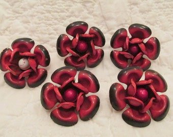 5 Vintage Drapery or Curtain Flower Pins Red and Black Mid Century SALE