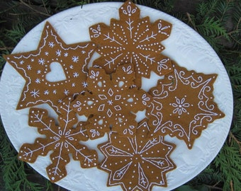 Snowflake Gingerbread Cookies/Christmas Ornaments/ Bowl fillers