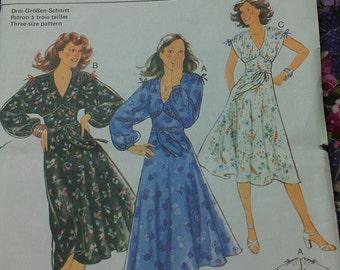summer dress with bodice yoke dolman sleeve options 8 10 12 Burda 9645